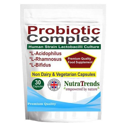 Probiotic Complex with Acidophilus and Bifidus human strain Capsules suitable for Vegeterian and Non Dairy.