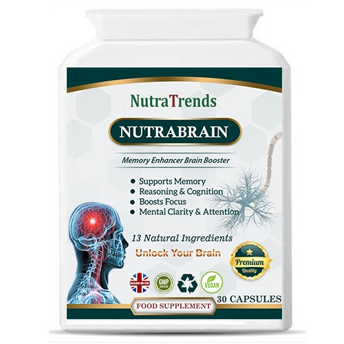 NutraBrain a Nootropic Supplement for memory, brain and mental focus enhance. 30 Capsules Vegeterian .
