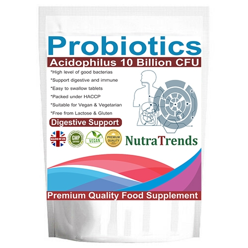 Probiotic Lactobacillus Acidophilus 10 Billions CFU tablets suitable for Vegan, free from Lactose & Dairy.