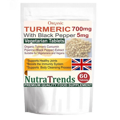 Organic Turmeric 700mg Curcumin Pure with Black Pepper Veg Tablets UK made
