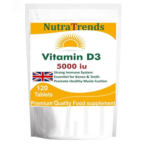 Vitamin D3 5000IU (120) Tablets Bones,Immune System,nervous system and heart health