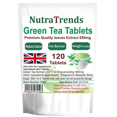 Green Tea 850 mg Tablets Natural Weight Loss Slimming Uk made 120 Vegetarian Tab