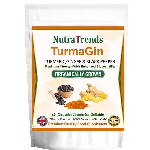 TurmaGin Capsules With Turmeric,Ginger,Black Pepper Vegetarian Uk Made By Nutratrends
